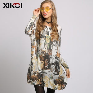 XIKOI European Cat Print Slash Neck