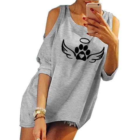 Off-the-shoulder-paws Women's T-shirt