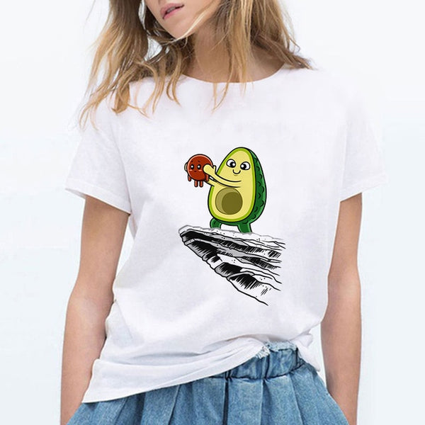 LUCKYROLL Vegan Cute Avocado Cat T Shirt