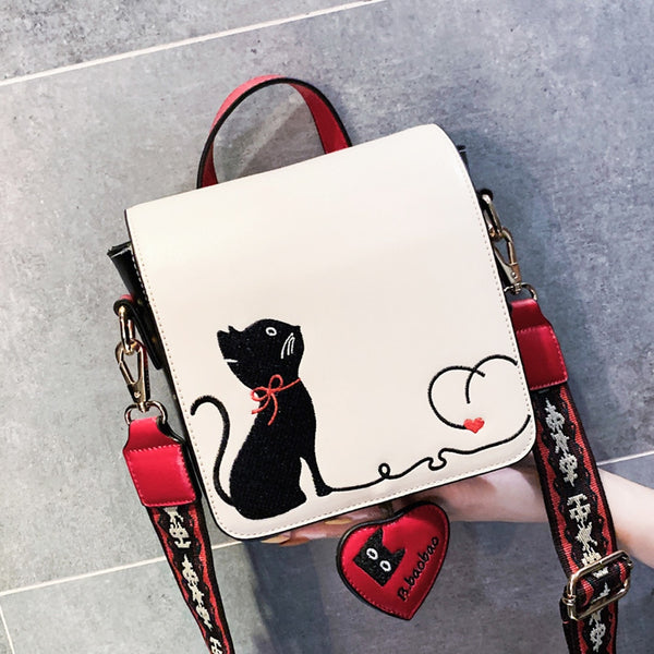 I Heart Cat Embroidery Crossbody Messenger Bag