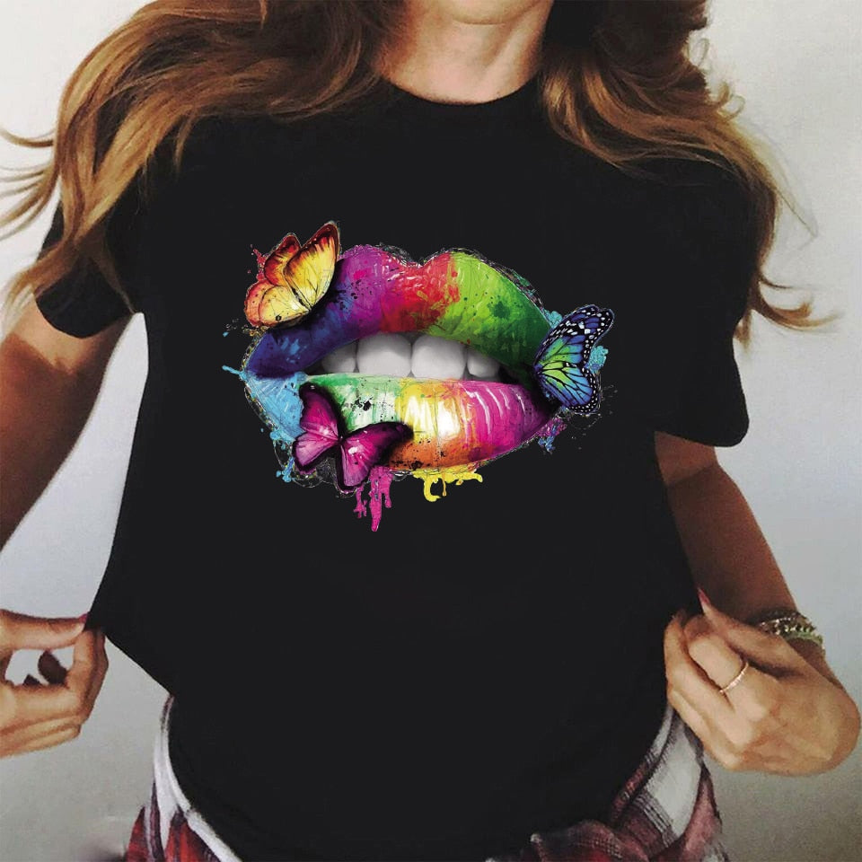 ZOGANKIN  Rainbow Lip and Butterfly Print