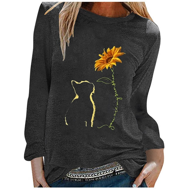 Feitong Funny Sunflower Autumn Tops