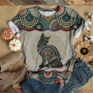 Pretty Kitty Printed O-Neck Top