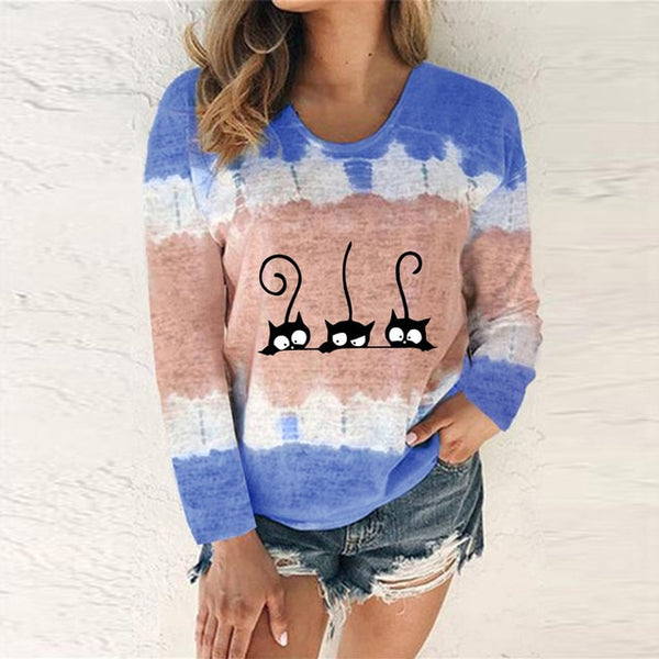 Fashion Cat O-Neck Top