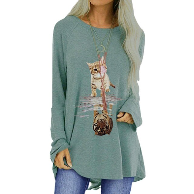 Casual Autumn Cute Cat Tiger Print