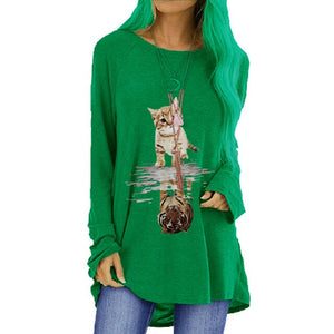 Casual Cute Cat Tiger Print