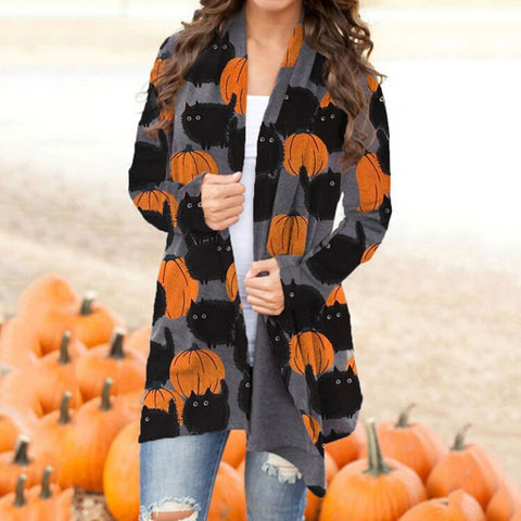 Cardigan Cat Pumpkin Cat cardigan feminino Coat