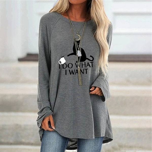 Cute Cat Printed Round Neck Long Sleeve Women's Tunic