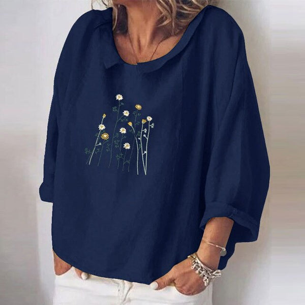 Women Turn-down Collar Linen Cotton Blouse
