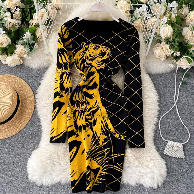 YuooMuoo Ins Fashion Tiger Knitted Dress