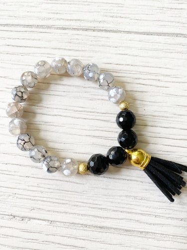 Clear + Black Tassel