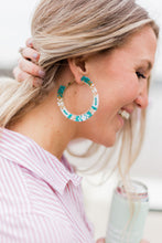 Load image into Gallery viewer, Green Beaded Hoops
