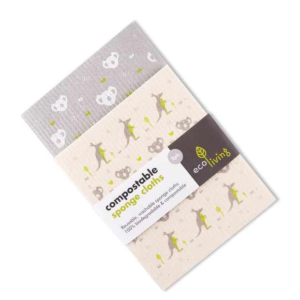Compostable Sponge Cleaning Cloths, biodegradable, 100% plastic free, Set of 2.