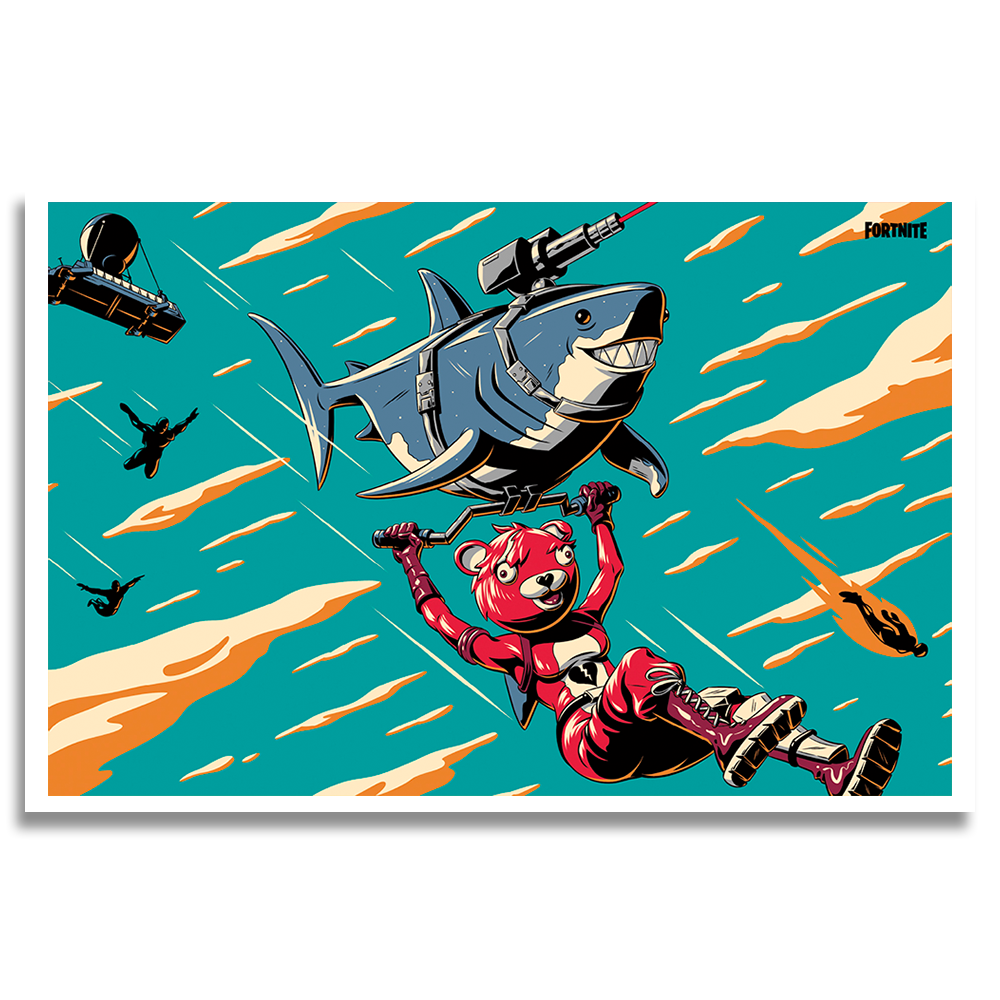 Laser Shark Cuddle Loading Screen Lithograph