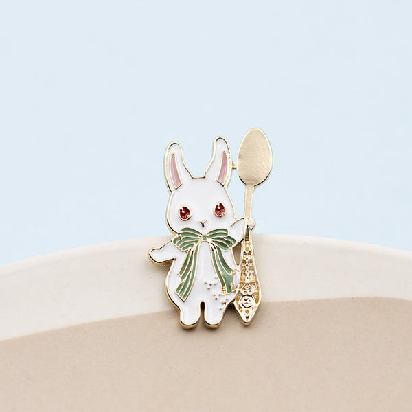 bunny with spoon and fork pin