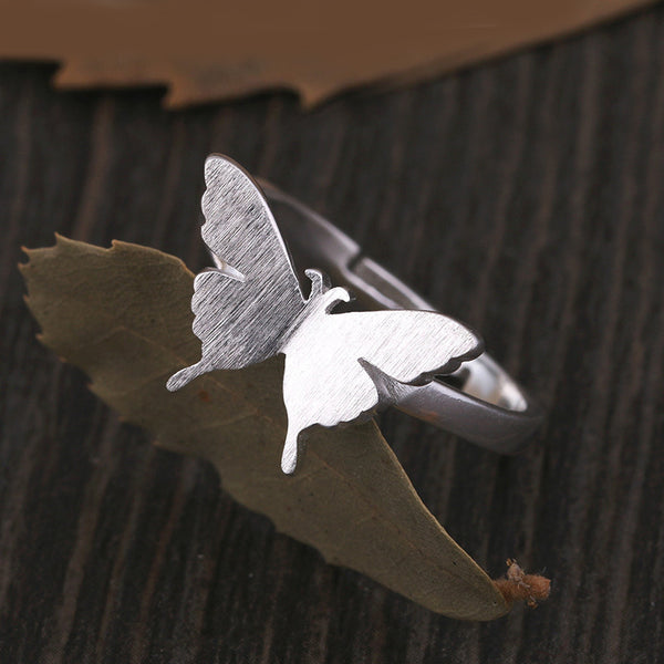 silberner Butterfly Ring