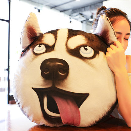 zany face husky doge pillow
