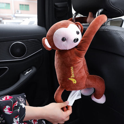 monkey facial tissues container plush