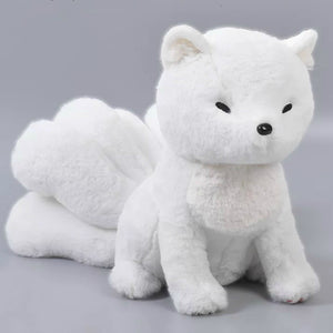 White kitsune plush Nine tailed fox Stuffed animal(with yellow cloak)