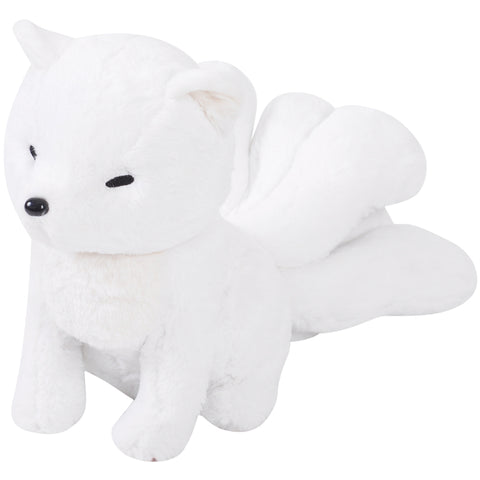 White kitsune plush Nine tailed fox Stuffed animal(with yellow cloak)(Preorder now, ship after Mar-15)