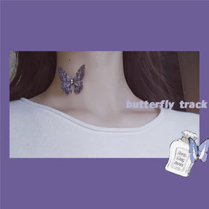 silk winged butterfly choker with invisible chain(3 colors)