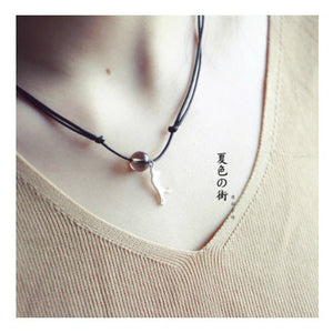 Silver cat jumps catching summer crystal moon collarbone chain necklace