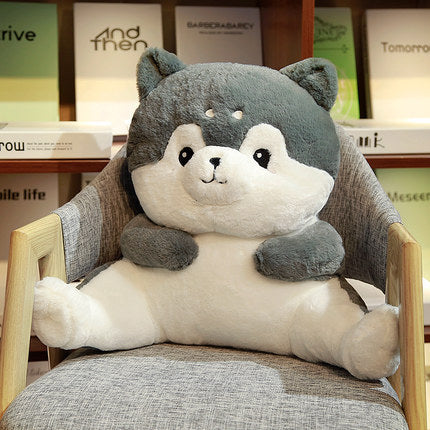 Piggy/husky plush lumbar pillow lower back pillow throw pillow