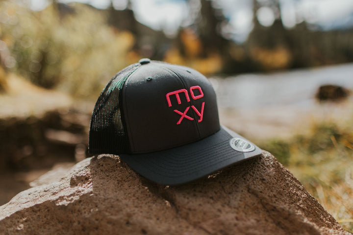 Moxy Trucker Hat in Charcoal Grey and Pink