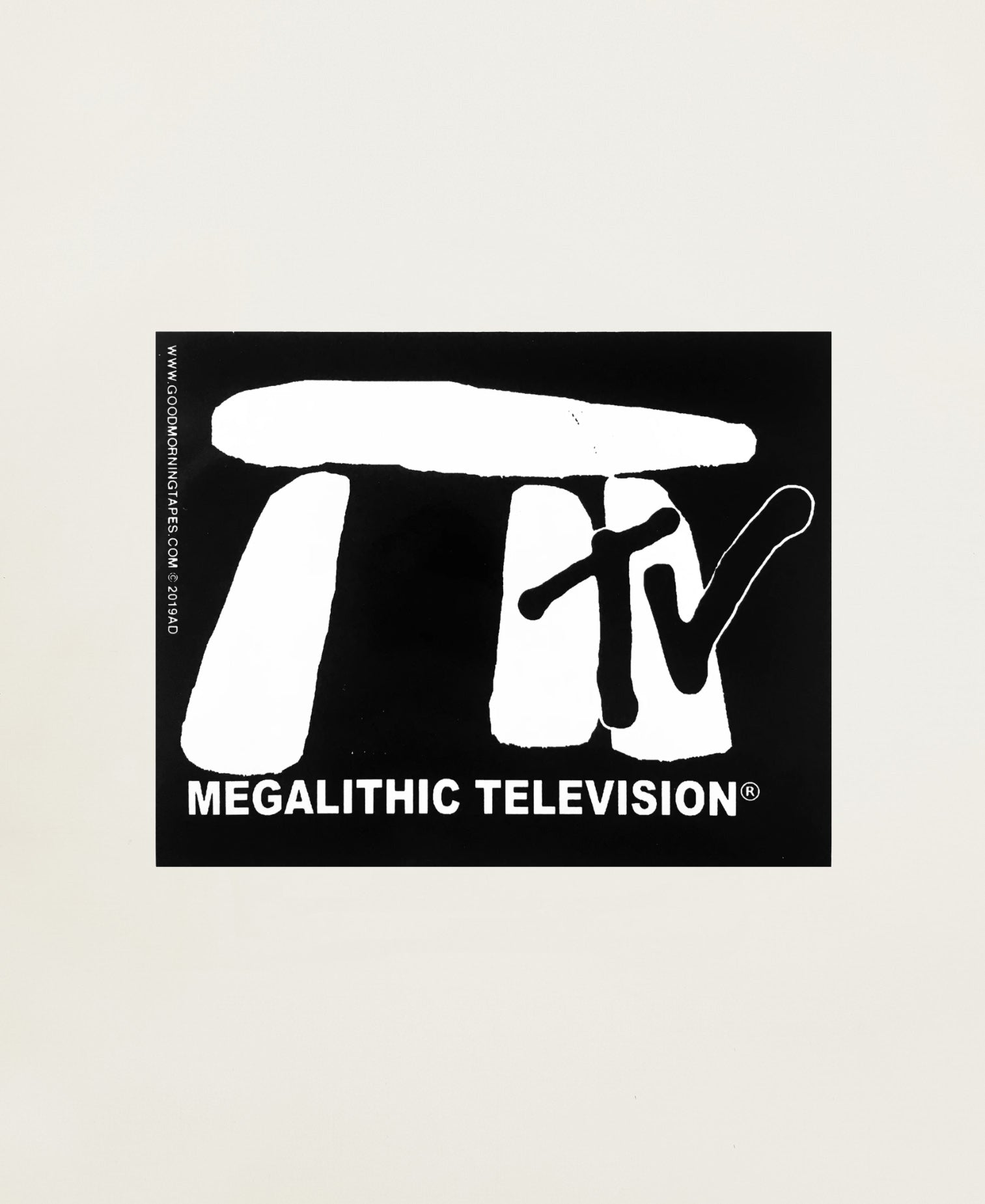 MEGALITHIC TV BUMPER STICKER - BLACK