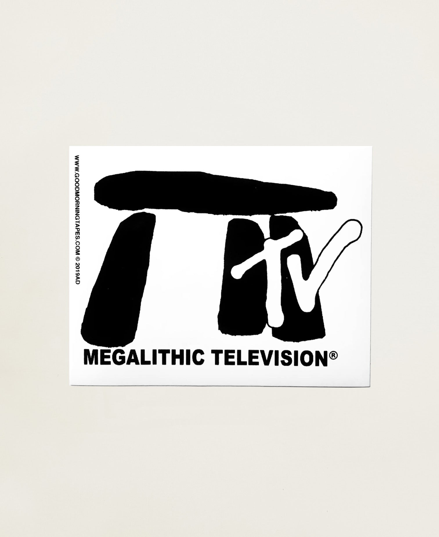 MEGALITHIC TV BUMPER STICKER - WHITE