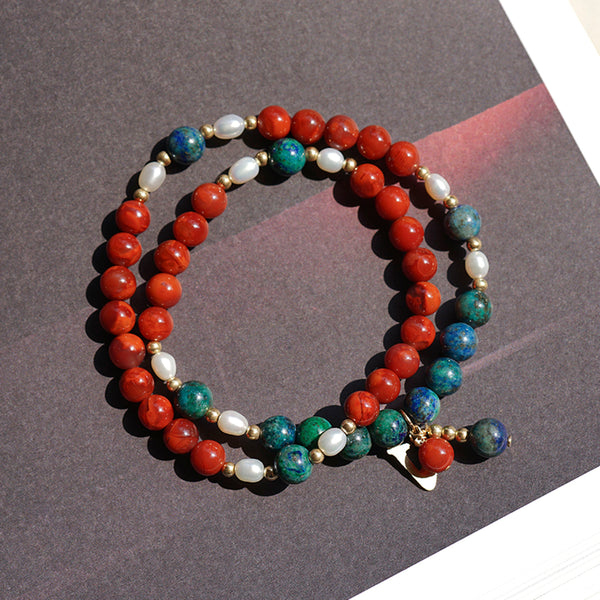 south red agate courage bracelet