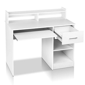 Computer Desk With Storage Slide Out Keyboard Tray Home Office Table White - Afterpay - Zip Pay - Free Shipping - Dodosales -