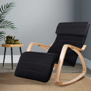 Fabric Rocking Armchair With Adjustable Footrest Lounge Chair Seat Black - Afterpay - Zip Pay - Free Shipping - Dodosales -