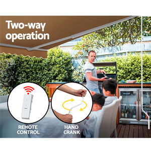 Outdoor Motorised Folding Arm Awning Window Blind Sun Shade Canopy Electric Beige 4 x 3m