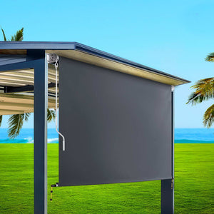 Outdoor Roll Down Awning Blind Retractable Privacy Screen Canopy Shade Grey 2.1 x 2.5m