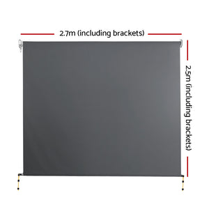 Outdoor Roll Down Awning Blind Retractable Privacy Screen Canopy Shade Grey 2.7 x 2.5m