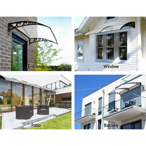 Outdoor DIY Door Window Awning French Style Cafe Canopy Sun Shield Rain Cover Transparent 1 x 3m