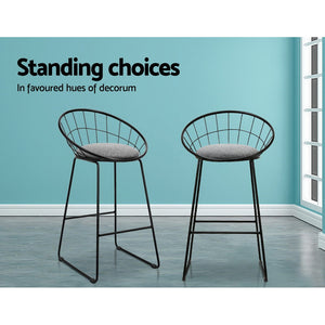 2x Metallic Bar Stool Set Nordic Stools Kitchen Seating Home Office Cafe
