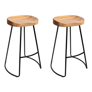 2x Wooden Backless Bar Stools Elm Wood Seat Retro Vintage Seating