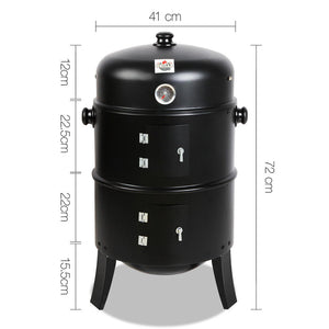 3-in-1 Charcoal BBQ Smoker Cooking Grill Barbeque Black Fathers Gift - Afterpay - Zip Pay - Free Shipping - Dodosales -