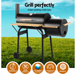 2-in-1 Offset BBQ Smoker Cooking Grill Barbeque Black Fathers Gift
