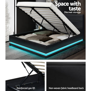 Queen Size Bed Frame RGB LED Gas Lift Base Storage PU Leather Black - Afterpay - Zip Pay - Free Shipping - Dodosales -