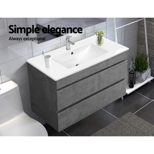 Bathroom Vanity Cabinet Unit Wash Basin Sink Storage Cement Look 900mm - Afterpay - Zip Pay - Free Shipping - Dodosales -