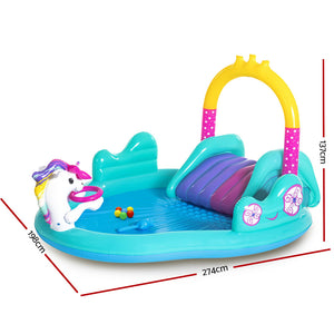 Kids Inflatable Swimming Pool Above Ground Family Fun Play Slide