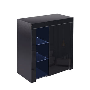 Buffet Sideboard Cabinet LED Storage Cupboard Unit High Gloss Doors Black