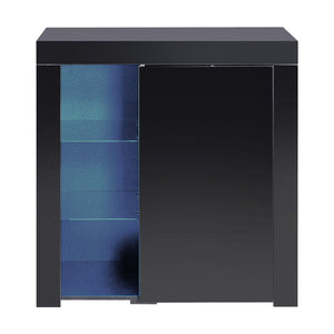 z Buffet Sideboard Cabinet LED Storage Cupboard Unit High Gloss Doors Black