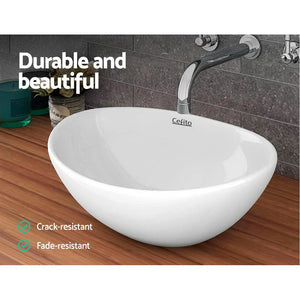 Bathroom Vanity Basin Oval Wash Bowl Sink Ceramic High Gloss - Afterpay - Zip Pay - Free Shipping - Dodosales -
