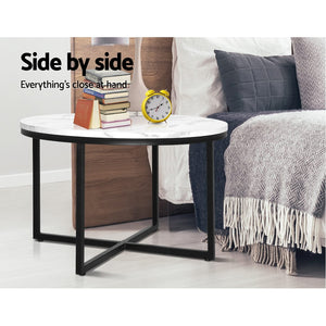 70cm Side Table Marble Effect Top Metal Legs Coffee Lamp Table Home Office - Afterpay - Zip Pay - Free Shipping - Dodosales -