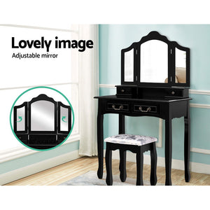 Bedroom Dressing Table with Foldable Mirror And Padded Embroidered Stool Black - Afterpay - Zip Pay - Free Shipping - Dodosales -
