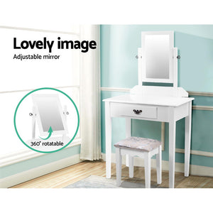 Bedroom Dressing Table with Mirror And Padded Embroidered Stool 1 Drawer White